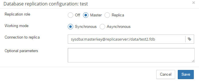 Synchronous replication configuration